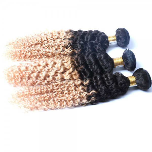 1 Bundle 1B/27 Ombre Brazilian Deep Curly Human Remy Hair Weave
