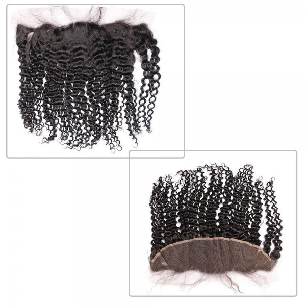 7A 3 Bundles Brazilian Deep Curly Virgin Human Remy Hair Weave With 13x4 Lace Frontal Closure