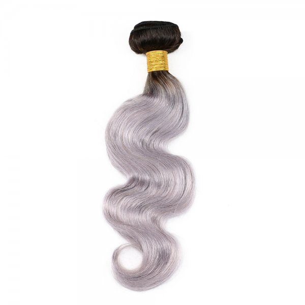 1 Bundle 1B/Grey Ombre Brazilian Body Wave Human Remy Hair Weave