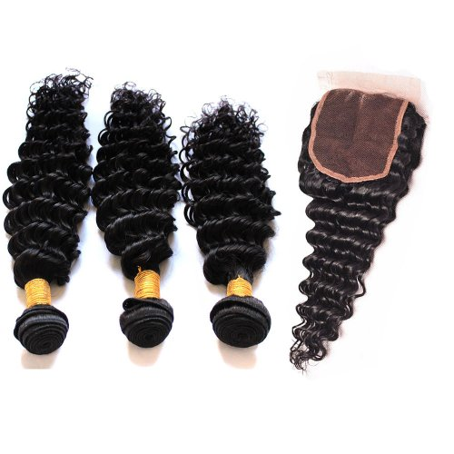 7A 3 Bundles Brazilian Deep Wave Virgin Human Remy Hair Weave With 4x4 Lace Closure