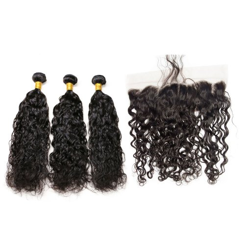 7A 3 Bundles Brazilian Natural Wave Virgin Human Remy Hair Weave With 13x4 Lace Frontal Closure