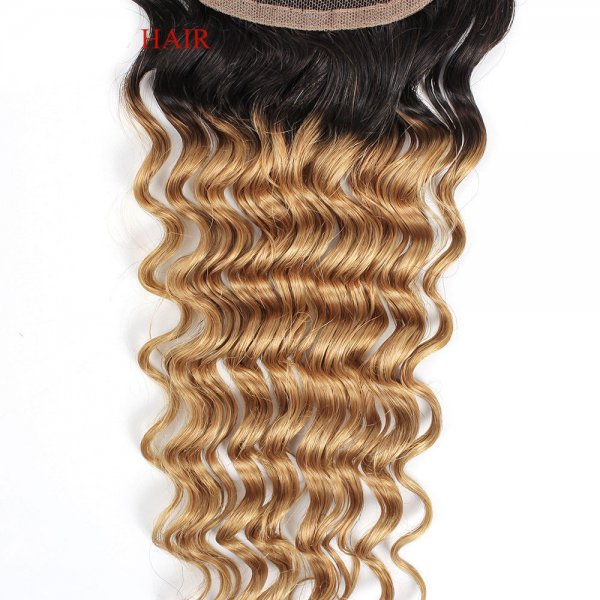 Ombre 1B/27 4x4 Lace Closure Deep Wave Human Brazilian Remy Hair