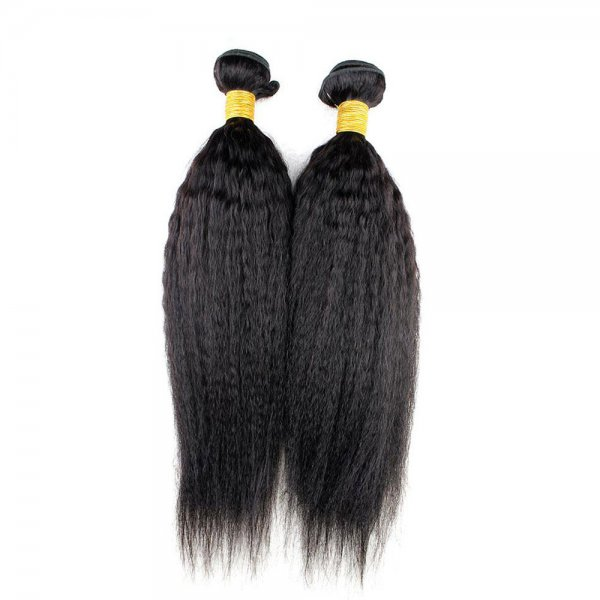 7A 2 Bundles Brazilian Kinky Straight Virgin Human Remy Hair Weave