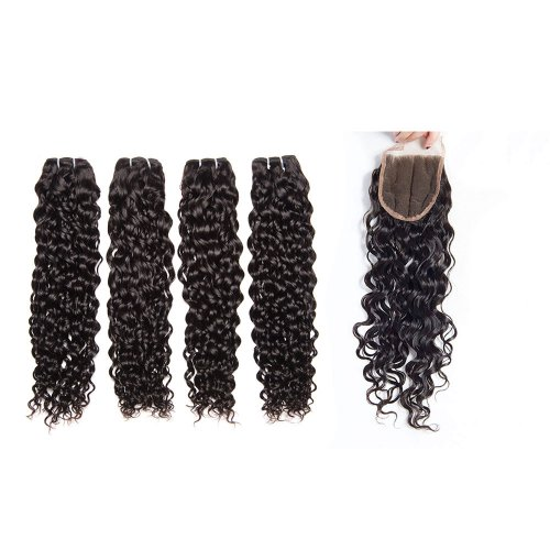 8A 4 Bundles Brazilian Natural Wave Virgin Human Remy Hair Weave With 4x4 Lace Closure