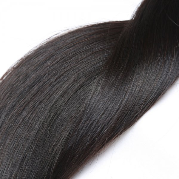 7A 4 Bundles Brazilian Straight Virgin Human Remy Hair Weave With 13x4 Lace Frontal Closure