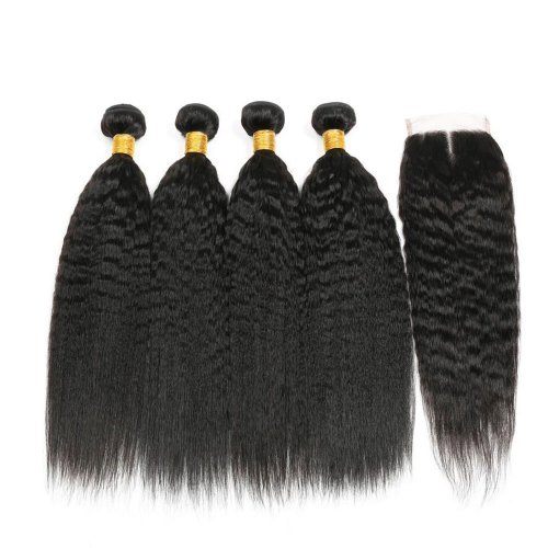 7A 4 Bundles Brazilian Kinky Straight Virgin Human Remy Hair Weave With 4x4 Lace Closure