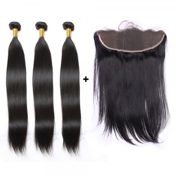 7A 3 Bundles Brazilian Straight Virgin Human Remy Hair Weave With 13x4 Lace Frontal Closure
