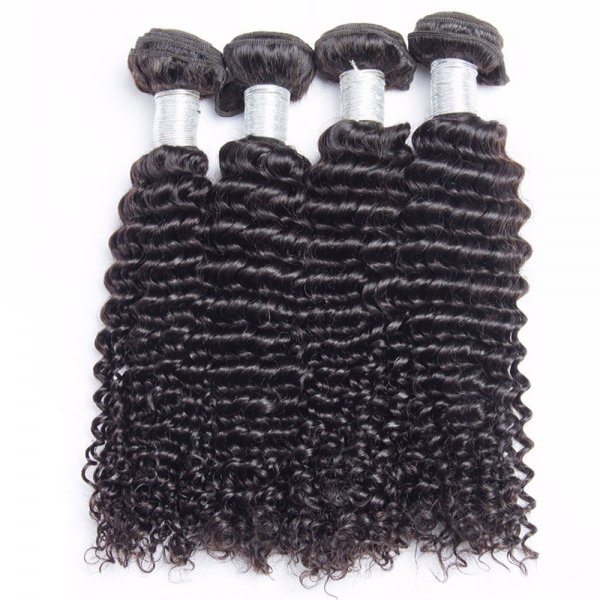 8A 4 Bundles Brazilian Deep Curly Virgin Human Remy Hair Weave