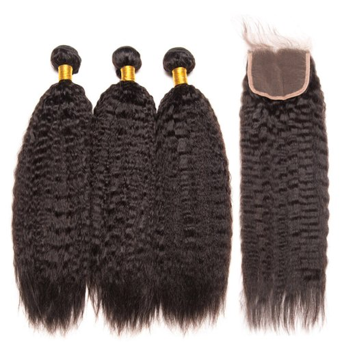 7A 3 Bundles Brazilian Kinky Straight Virgin Human Remy Hair Weave With 4x4 Lace Closure
