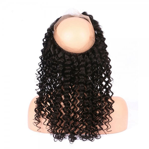 7A 360 Lace Frontal Closure Deep Curly Human Brazilian Remy Virgin Hair