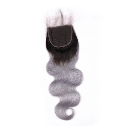Ombre 1B/Grey 4x4 Lace Closure Body Wave Human Brazilian Remy Hair