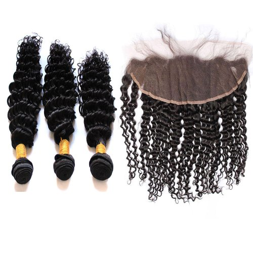 7A 3 Bundles Brazilian Deep Wave Virgin Human Remy Hair Weave With 13x4 Lace Frontal Closure