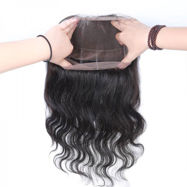 8A 2 Bundles Brazilian Body Wave Virgin Human Remy Hair Weave With 360 Lace Frontal Closure