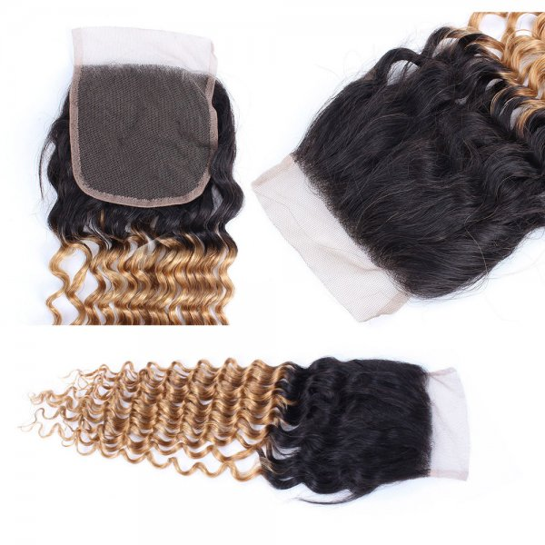 3 Bundles 1B/27 Ombre Brazilian Deep Curly Human Remy Hair Weave With 4x4 Lace Closure