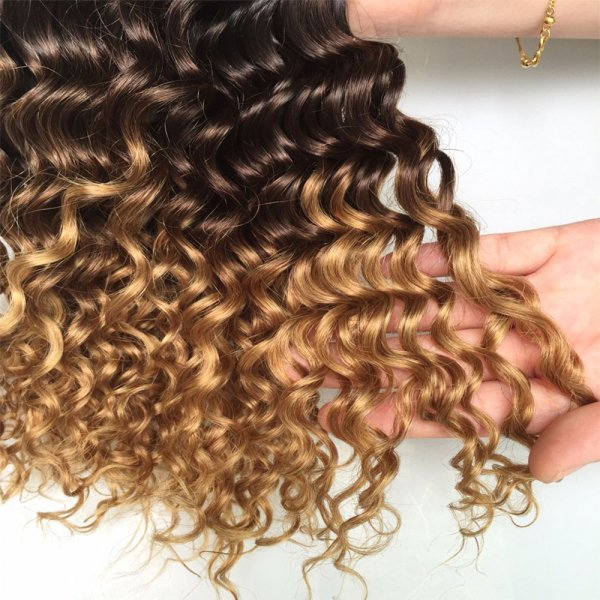 1 Bundle 1B/27 Ombre Brazilian Deep Wave Human Remy Hair Weave