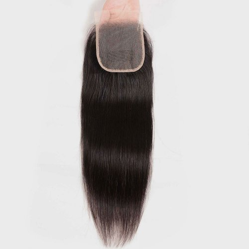 Straight 4x4 Transparent Lace Closure With Baby Hair Pre Plucked Brazilian Human Hair Remy Hair