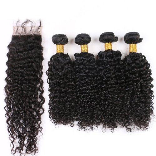 7A 4 Bundles Brazilian Deep Curly Virgin Human Remy Hair Weave With 4x4 Lace Closure