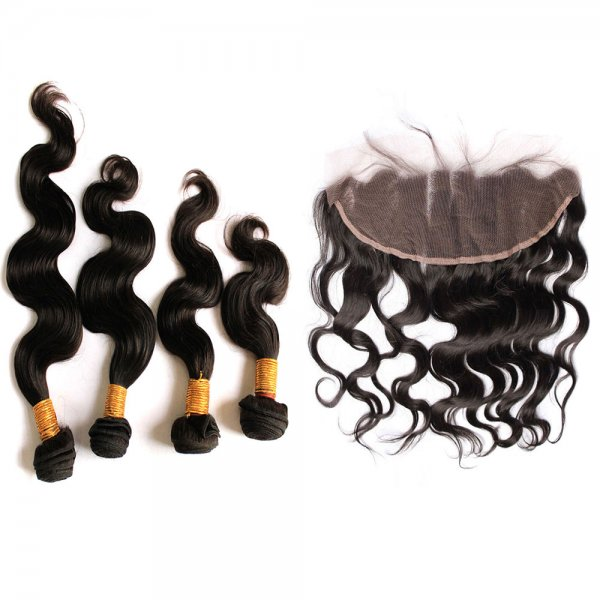 7A 4 Bundles Brazilian Body Wave Virgin Human Remy Hair Weave With 13x4 Lace Frontal Closure