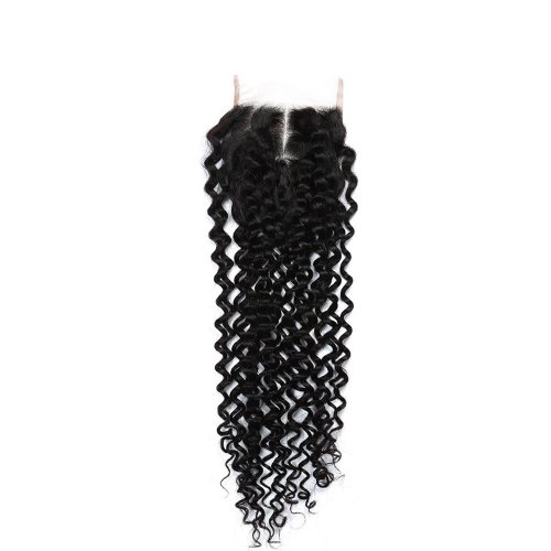 7A 4x4 Lace Closure Kinky Curly 100% Human Virgin Brazilian Remy Hair
