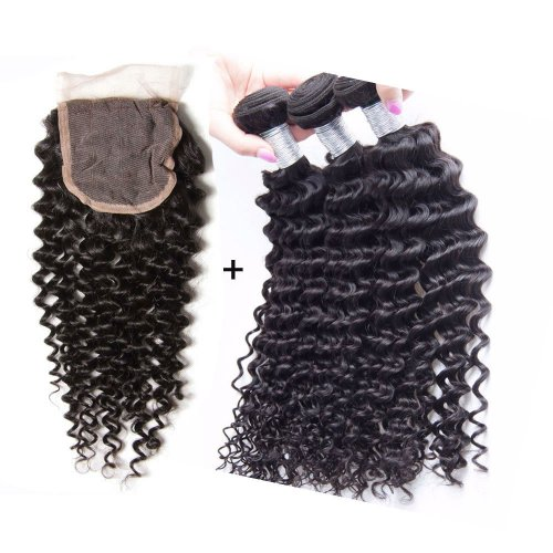 8A 3 Bundles Brazilian Deep Curly Virgin Human Remy Hair Weave With 4x4 Lace Closure