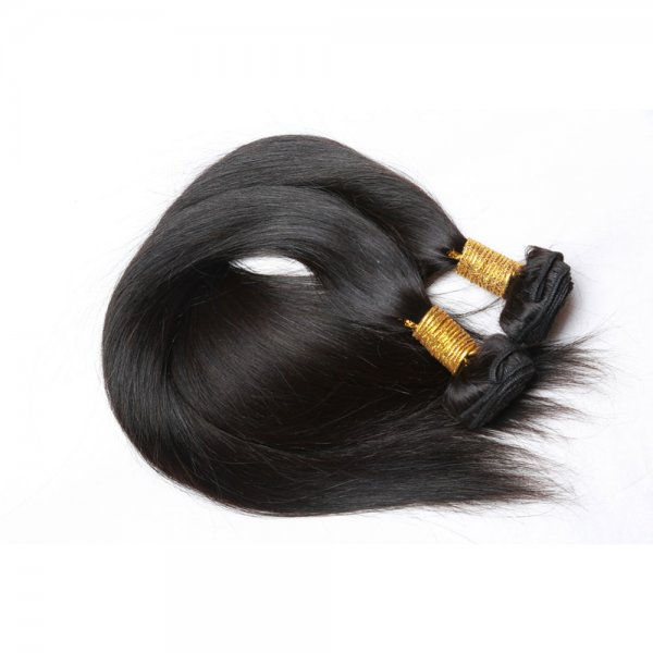 7A 2 Bundles Brazilian Straight Virgin Human Remy Hair Weave With 360 Lace Frontal Closure