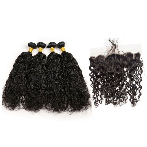 7A 4 Bundles Brazilian Natural Wave Virgin Human Remy Hair Weave With 13x4 Lace Frontal Closure