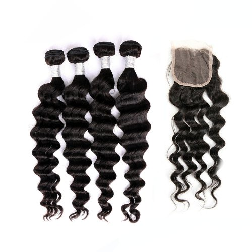 8A 4 Bundles Brazilian Loose Deep Virgin Human Remy Hair Weave With 4x4 Lace Closure