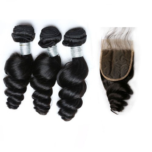 8A 3 Bundles Brazilian Loose Wave Virgin Human Remy Hair Weave With 4x4 Lace Closure