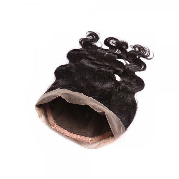 7A 2 Bundles Brazilian Body Wave Virgin Human Remy Hair Weave With 360 Lace Frontal Closure