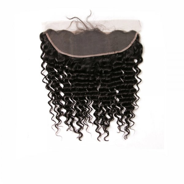 7A 13x4 Lace Frontal Closure Deep Wave Human Virgin Brazilian Remy Hair