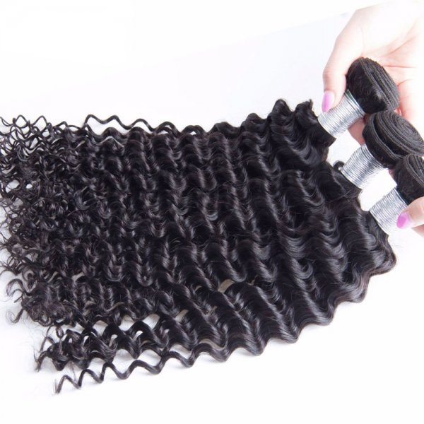 8A 3 Bundles Brazilian Deep Curly Virgin Human Remy Hair Weave