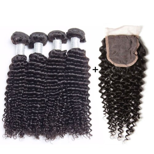 8A 4 Bundles Brazilian Deep Curly Virgin Human Remy Hair Weave With 4x4 Lace Closure
