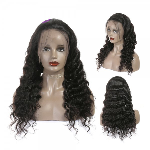 Lustrous And Cheap 360 Lace Wig Deep Wave Middle Part Lace Frontal Wigs Pre-Plucked Hairline Brazilian Human Hair
