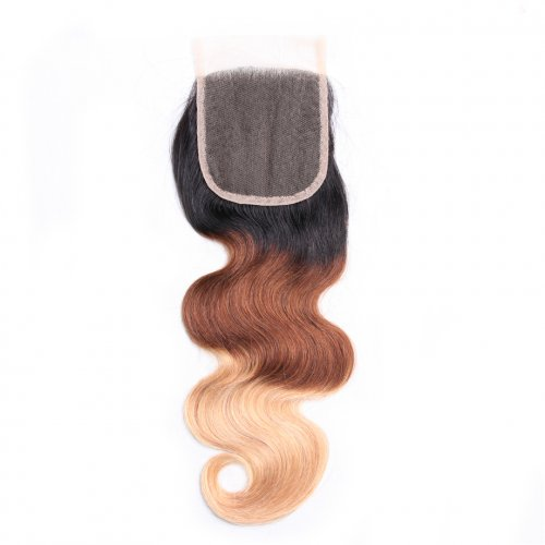 Ombre 1B/4/27 4x4 Lace Closure Body Wave Human Brazilian Remy Hair