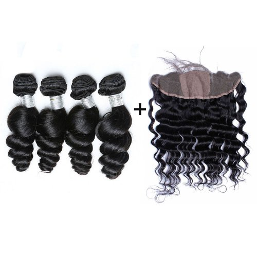 8A 4 Bundles Brazilian Loose Wave Virgin Human Remy Hair Weave With 13x4 Lace Frontal Closure