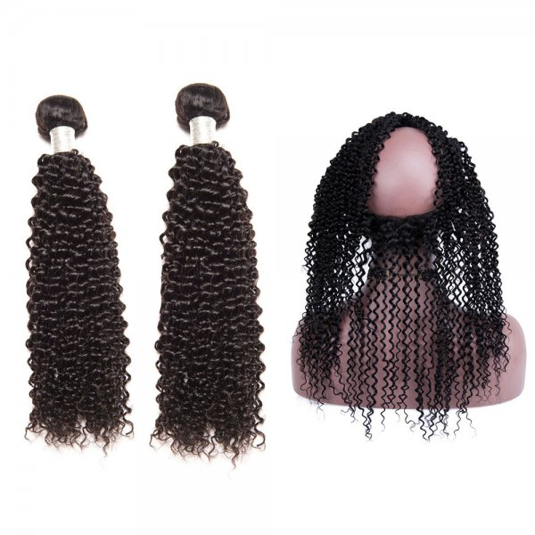 8A 2 Bundles Brazilian Kinky Curly Virgin Human Remy Hair Weave With 360 Lace Frontal Closure