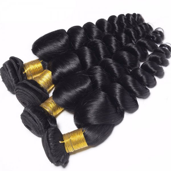 7A 4 Bundles Brazilian Loose Wave Virgin Human Remy Hair Weave