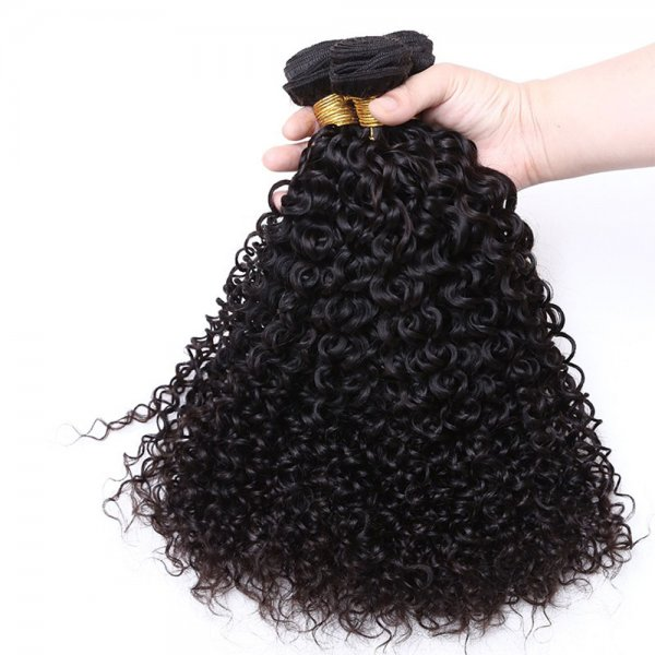 7A 4 Bundles Brazilian Kinky Curly Virgin Human Remy Hair Weave With 4x4 Lace Closure