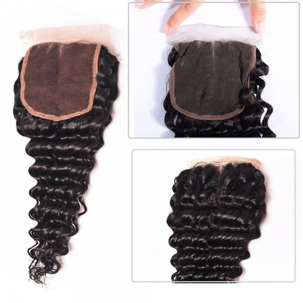 7A 4 Bundles Brazilian Deep Wave Virgin Human Remy Hair Weave With 4x4 Lace Closure