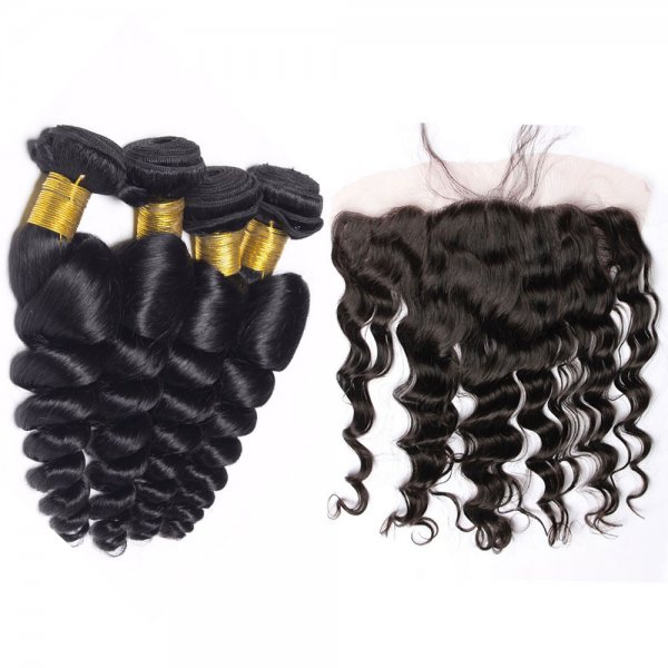 7A 4 Bundles Brazilian Loose Wave Virgin Human Remy Hair Weave With 13x4 Lace Frontal Closure