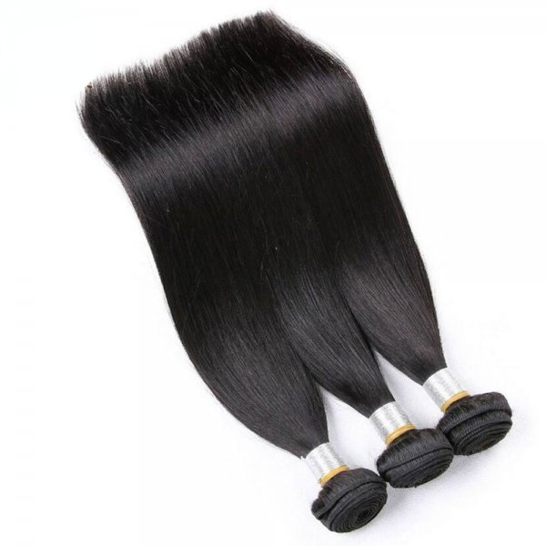 8A 2 Bundles Brazilian Straight Virgin Human Remy Hair Weave With 360 Lace Frontal Closure