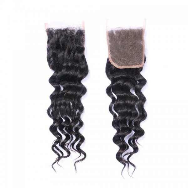 7A 3 Bundles Brazilian Loose Deep Virgin Human Remy Hair Weave With 4x4 Lace Closure