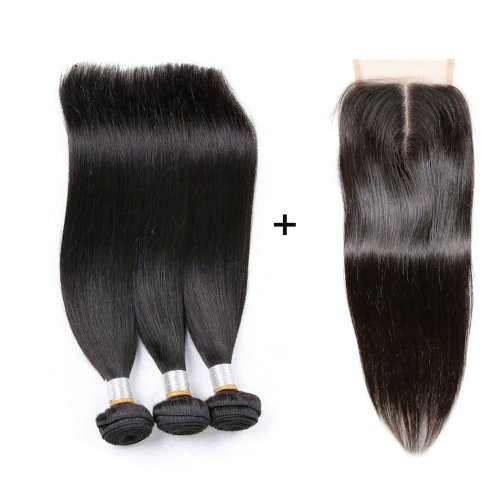 8A 3 Bundles Brazilian Straight Virgin Human Remy Hair Weave With 4x4 Lace Closure
