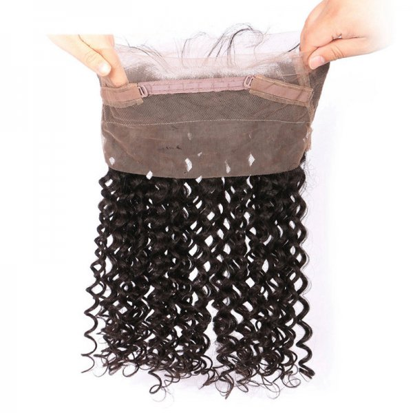 8A 2 Bundles Brazilian Deep Curly Virgin Human Remy Hair Weave With 360 Lace Frontal Closure