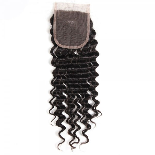 8A 4x4 Lace Closure Deep Wave 100% Human Virgin Brazilian Remy Hair