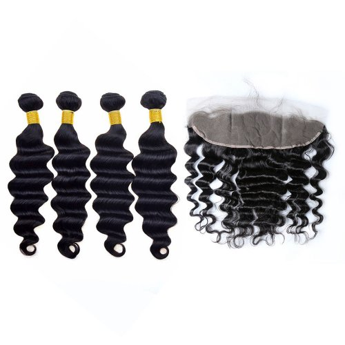 7A 4 Bundles Brazilian Loose Deep Virgin Human Remy Hair Weave With 13x4 Lace Frontal Closure