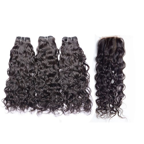 8A 3 Bundles Brazilian Natural Wave Virgin Human Remy Hair Weave With 4x4 Lace Closure