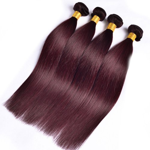 4 Bundles Dyed Brazilian Hair Extensions #99J Color Straight