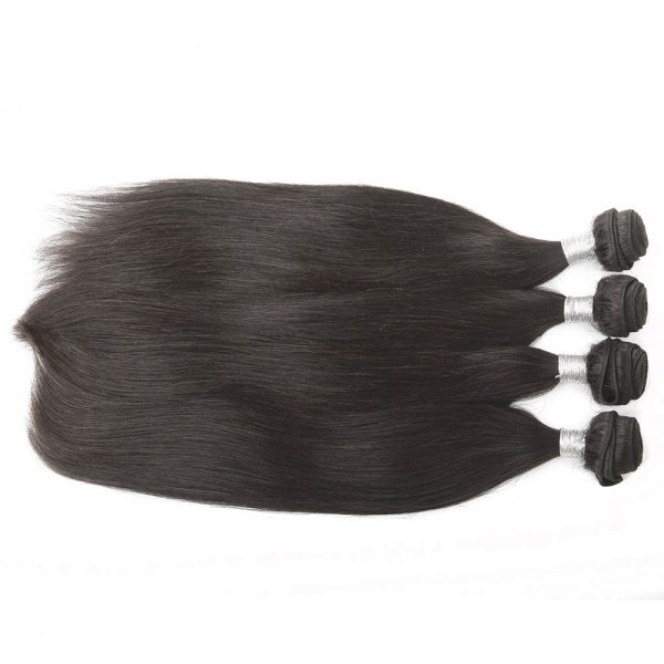 8A 4 Bundles Brazilian Straight Virgin Human Remy Hair Weave