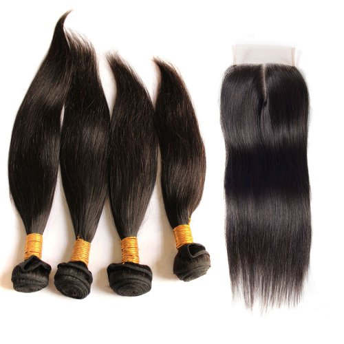 7A 4 Bundles Brazilian Straight Virgin Human Remy Hair Weave With 4x4 Lace Closure